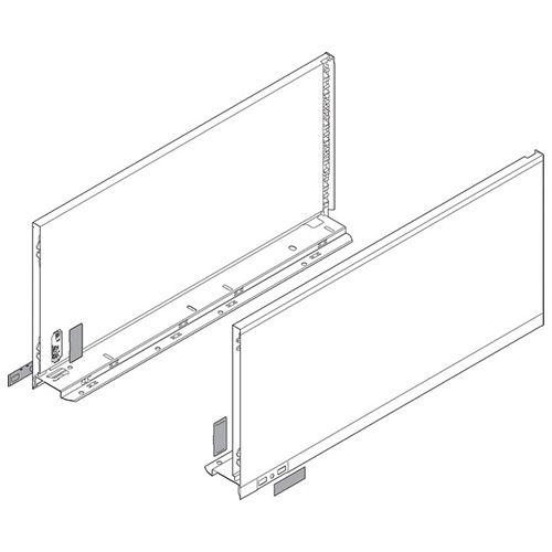 Боковина LEGRABOX K(128.5), L=600мм, левая, нерж (+2загл.внеш+2загл.внутр)