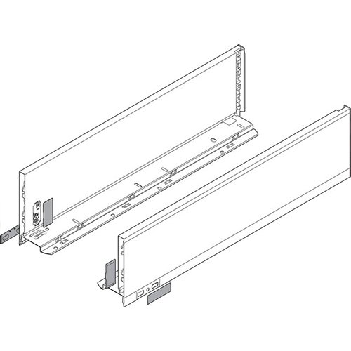 Боковина LEGRABOX K(128.5), L=500мм, лев+прав, белый шелк (+2загл.внеш+2загл.внутр)