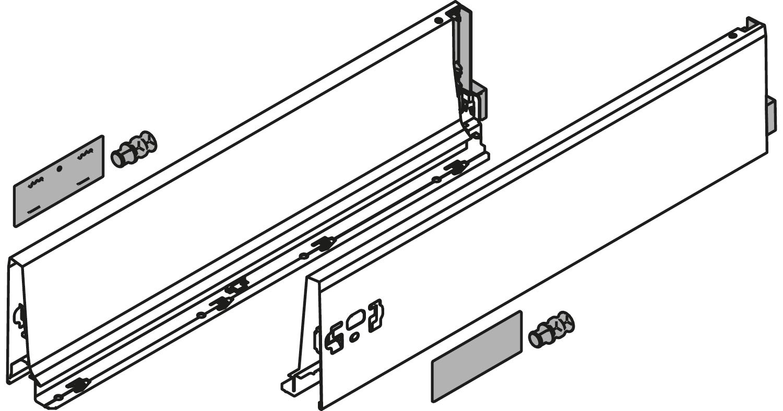 Боковина TANDEMBOX Antaro K (115,6 мм)  L=300мм, лев.+прав., белый шелк