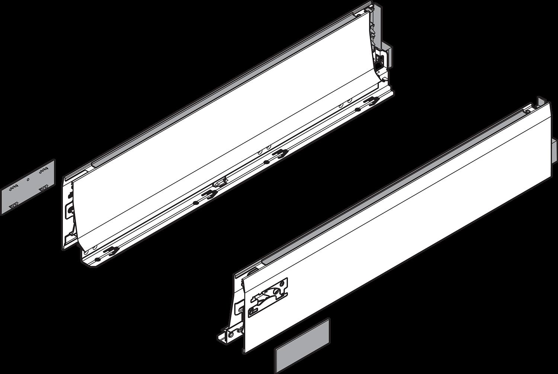 Боковина TANDEMBOX INTIVO L (101,4 мм) L=600мм, левая+правая, белый шелк