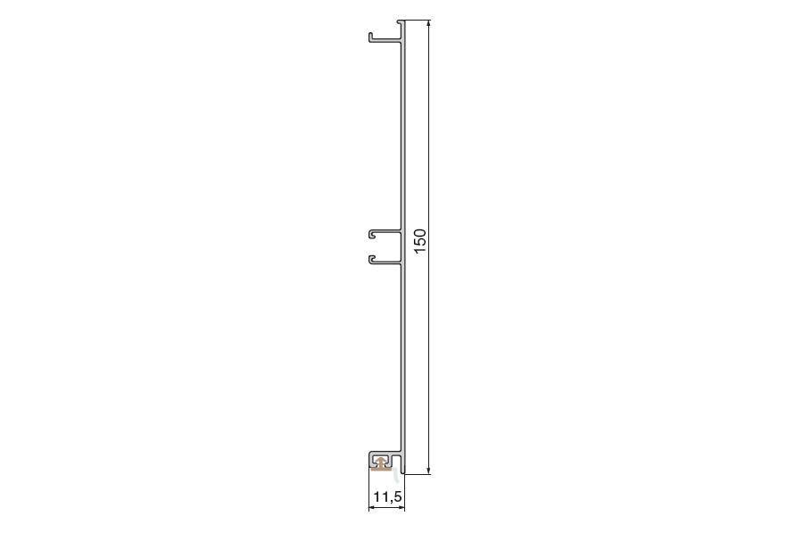 Цоколь алюминиевый, H=150мм,  4м, цвет - Нержавейка
