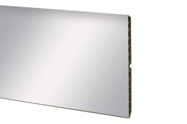 Цоколь на основе ПВХ,  H=150мм, 4м цвет - Зеркальный (скрытый уплотнитель)