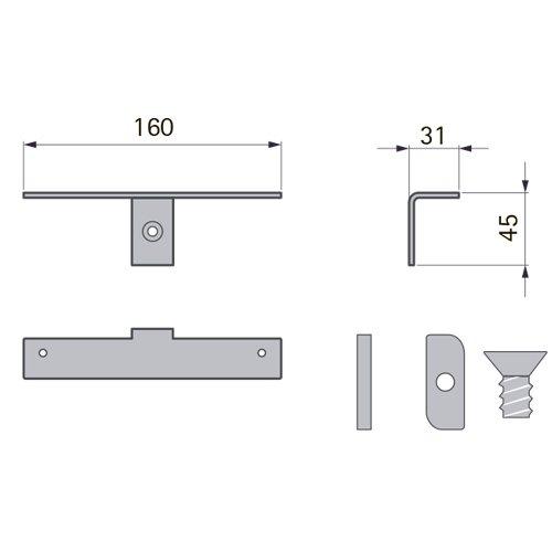 Держатель для деревянных полок (пара), L=160мм, алюминий