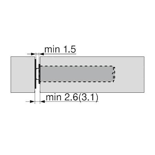 Держатель для Tip-On 20/17 короткий, прямой, черный (с монтаж. планкой) (пластик)