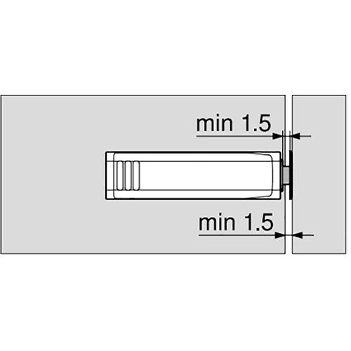 Держатель для Tip-On 20/17 короткий, прямой, серый (с монтаж. планкой) (пластик)