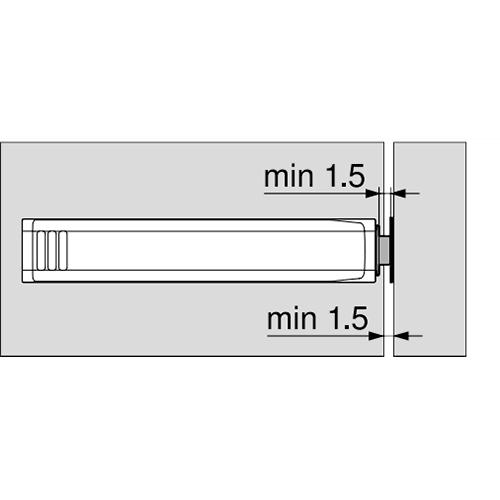 Держатель для Tip-On 20/32 длинный, прямой, черный (с монтаж. планкой) (пластик)