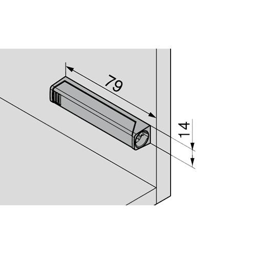 Держатель для Tip-On 20/32 длинный, прямой, серый (с монтаж. планкой) (пластик)
