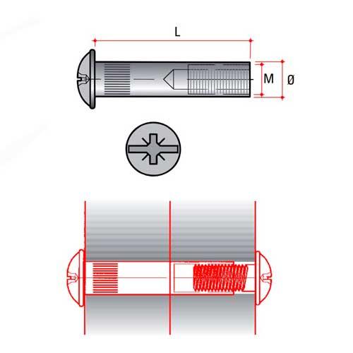 Гильза стяжки М4, никель (для толщины 31-38мм)
