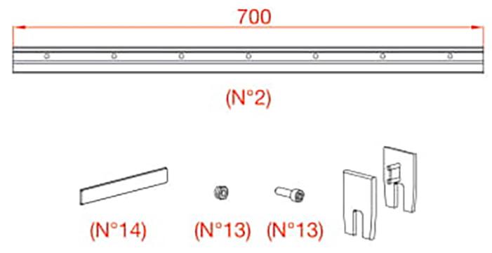 К-т держателей Vetro 40, стекло 8мм (700-799 мм), 100кг