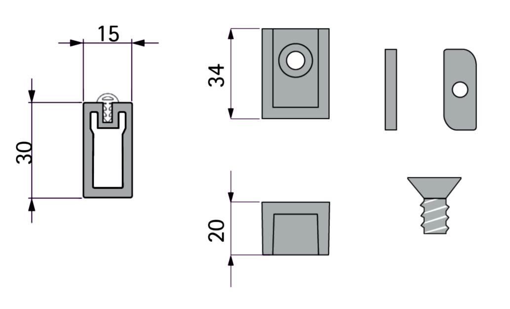 К-т для гардеробной трубы 600мм, с прокладкой, черный (анодир.)