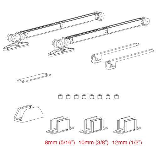 К-т механизмов Vetro 40 с 2-мя доводчиками (стекло 8-10мм) дверь мин.920мм, 80кг