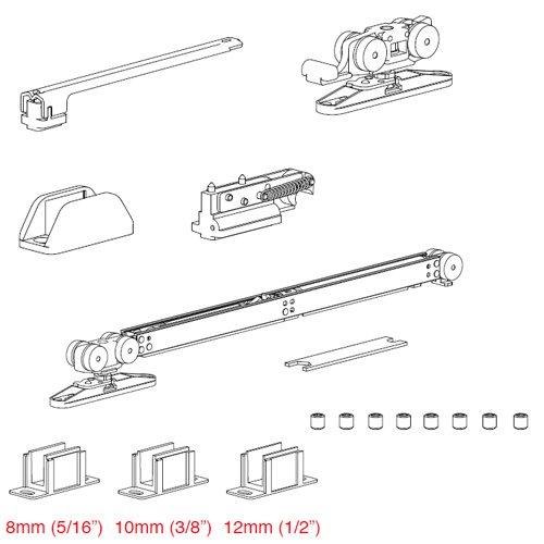 К-т механизмов Vetro 40 с доводчиком+демпфер (стекло 8-10мм) дверь мин.660мм, 80кг
