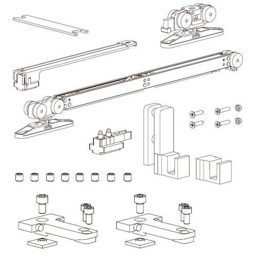 К-т механизмов Vetro 40, телескоп (тип B), доводчик+стопор (стекло 8/10мм), 80кг (мин. 670мм)