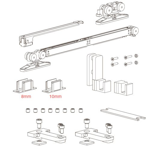 К-т механизмов Vetro 40, телескоп (тип А), доводчик+стопор (стекло 8/10мм), 80кг (мин. 670мм)