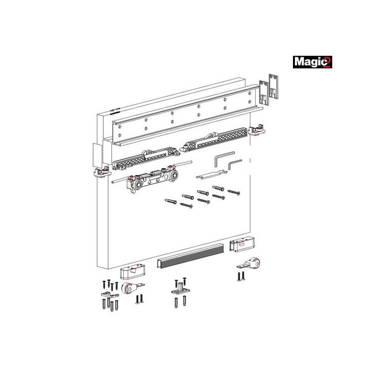 К-т системы MAGIC2/1100 (скрытый механизм) на одну дверь, 80кг, L=1100 мм