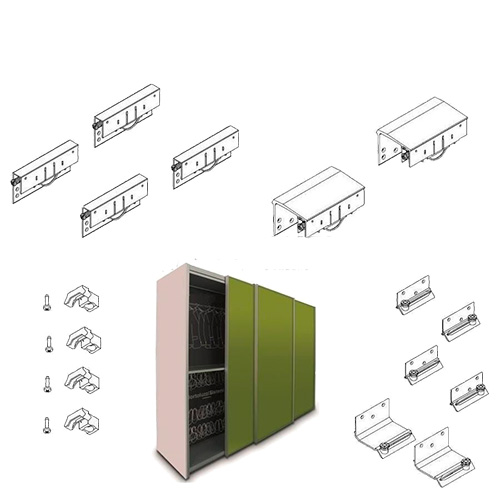 Комплект для 3-х дверного шкафа LIGHT MAXI (толщина двери до 35мм) h=33, 50 кг