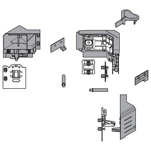 Комплект держателей фасада  углового ящика с SYNCROMOTION, высота M, белый шелк