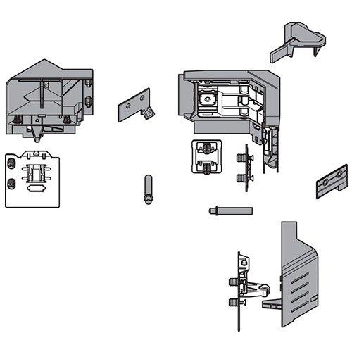 Комплект держателей фасада углового ящика c SYNCROMOTION, высота M, серый