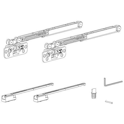Комплект механизмов на одну дверь (доводчик+доводчик), до 15кг, Lмин 540мм