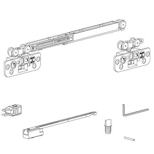 Комплект механизмов на одну дверь (доводчик+стопор), до 15кг, Lмин 400мм