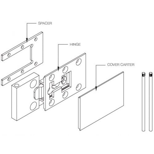 Комплект петель (2 шт.) для боковины 18мм, свинец