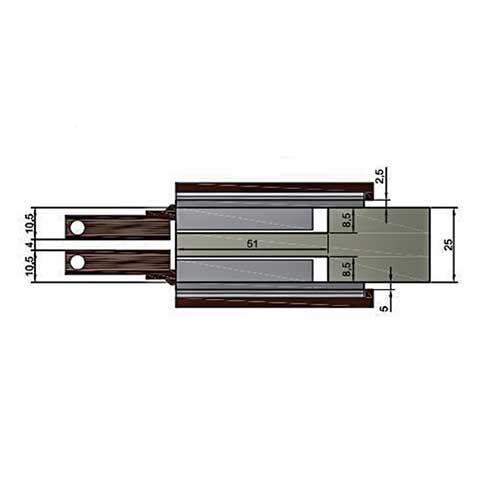 Комплект петель (2 шт.) для боковины 25мм, коричневый