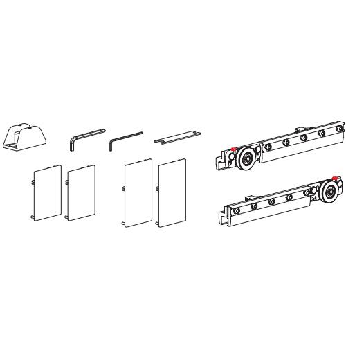 Комплект роликов с 2мя доводчиками Micro50 для стеклянной двери