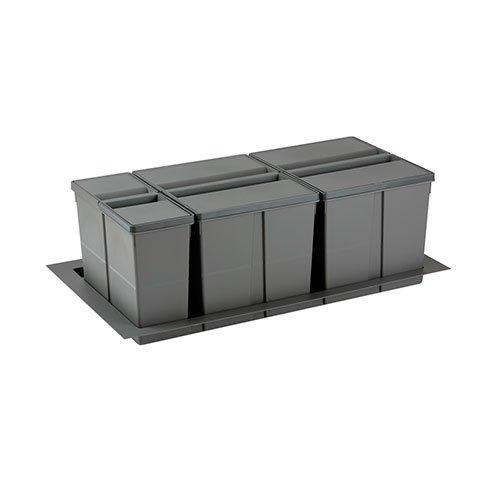 Контейнер 9XL 90см, стандартная крышка без аксессуаров, (26+11+26л) h 277мм, серый орион