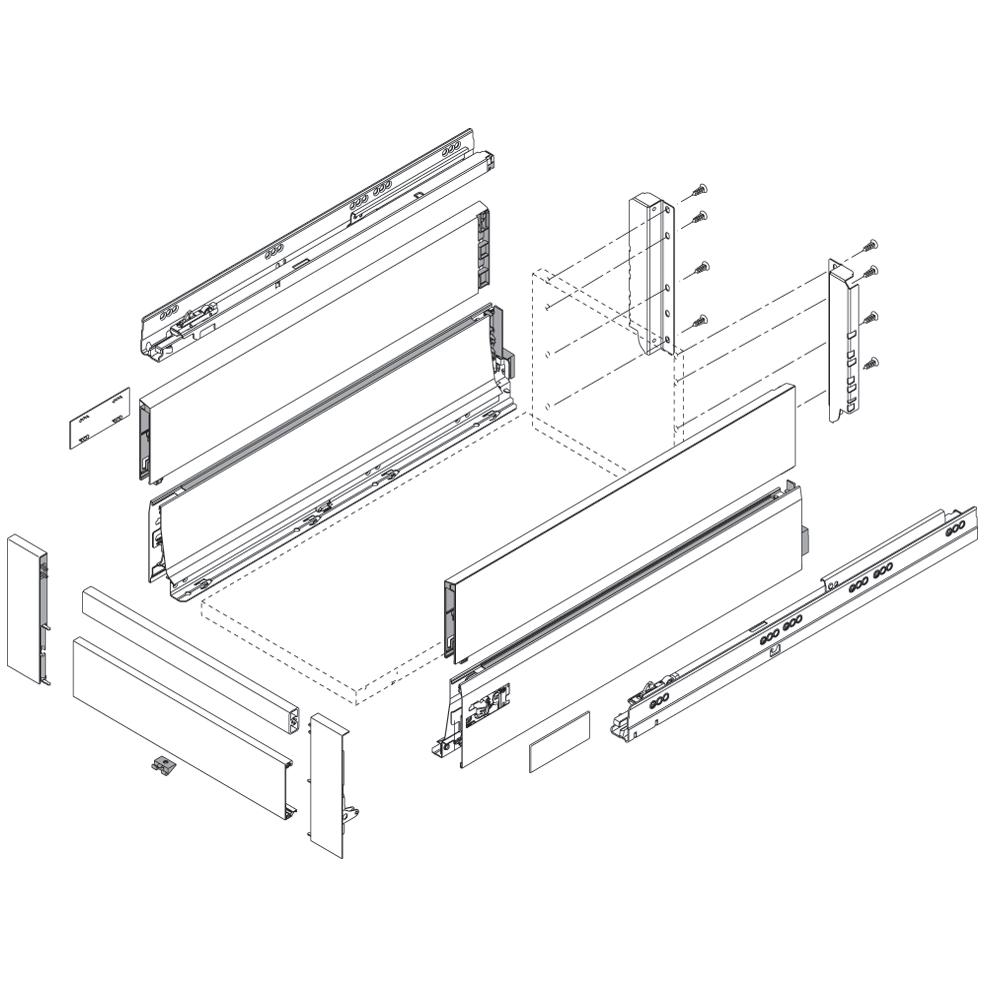 Крепление передней панели D (под релинг), INTIVO, лев+прав, белый (сталь)