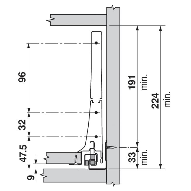 Крепление передней панели D (под релинг), INTIVO, лев+прав, терра-черн.(сталь)