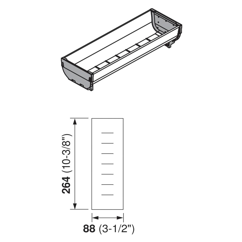 Лоток для ORGA-LINE 88х264мм