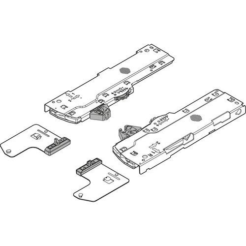 Мех-зм + триггер + шестерни (L3) TIP-ON Blumotion 350-750мм, вес ящика=15-40 кг, лев.+прав., т.-серы
