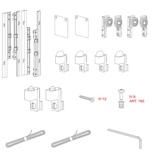 Механизм системы Beta для дверей ДСП 380-459мм