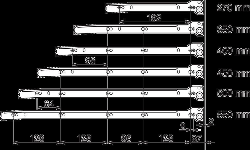 METABOX H (150мм), L=550мм), кр.-белый