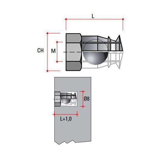 Муфта М6, L=12 (с распор.шириком), латунь, отв.8мм
