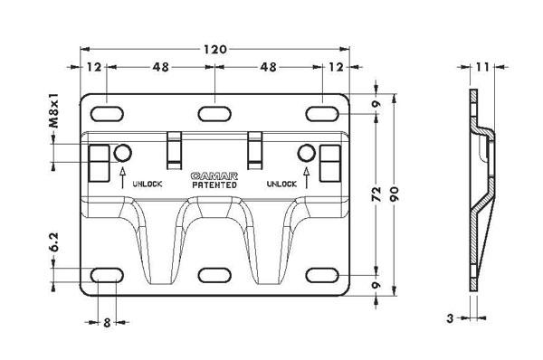 Навесная планка 120х90 для арт. 807XL/807XLRV, антисъемная
