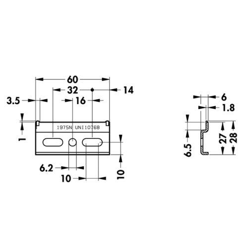 Навесная планка 60х28 мм для подвеса (для 801, 804, 806, 818)