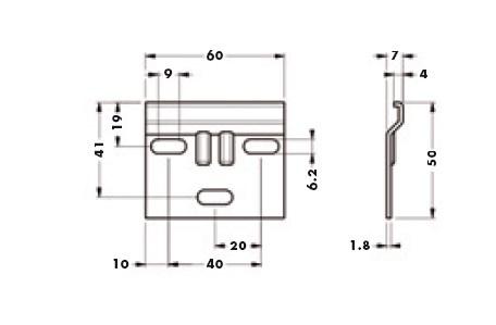 Навесная планка 60х50 мм для подвеса (для 801, 804, 806 и blum)