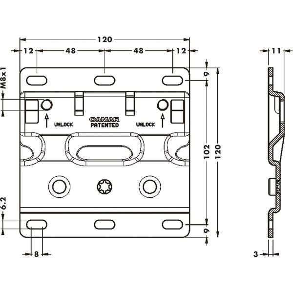 Навесная планка для арт. 807XL/807XLRV, антисъемная