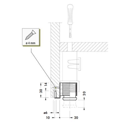 Опора для шафи d=28мм, м/о 32мм