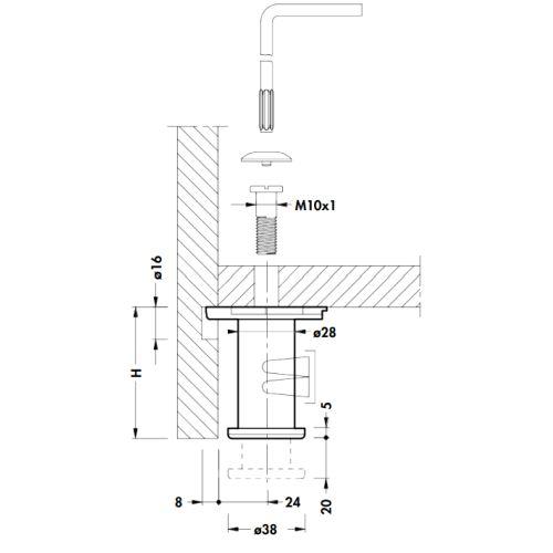 Опора для шкафа h=100мм d=38мм, м/о 32мм, под шестигран.