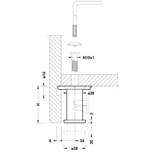 Опора для шкафа h=80мм d=38мм, м/о 32мм, под шестигран.