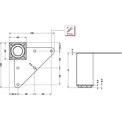 Опора квадратная 49х49мм h=100мм (регулировка +0/10мм), хром полир.