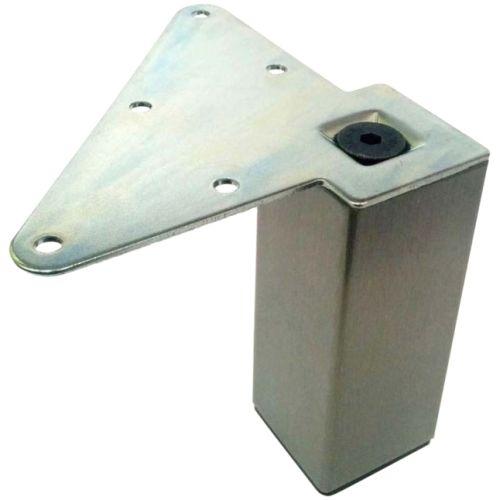 Опора квадратная 49х49мм h=100мм (регулировка +0/10мм), нерж. брашир.