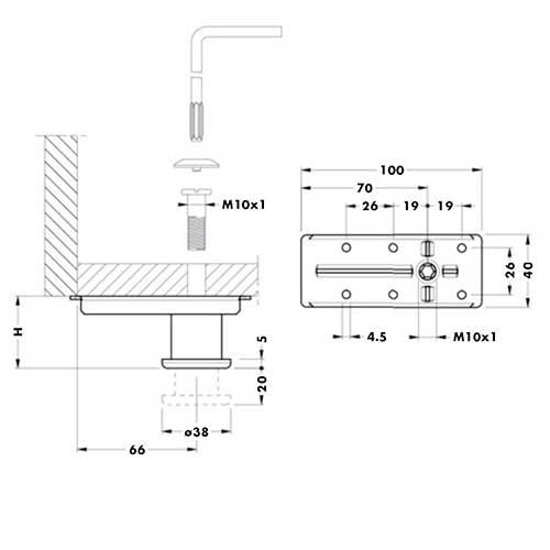 Опора под тандем направляющую для шкафа h=60мм d=38мм, м/о 32мм, под шестигран.