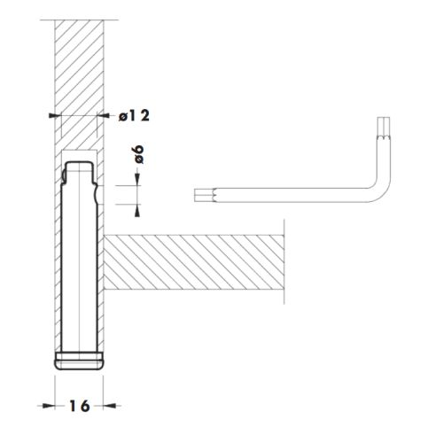 Опора в торец d=12мм, h=52мм