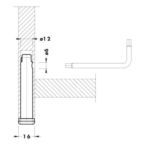 Опора в торец d=12мм, h=70мм