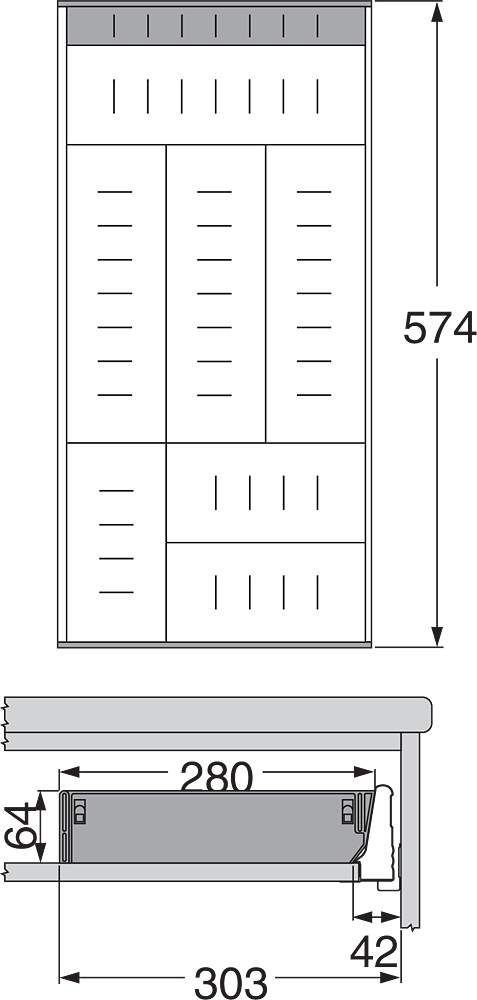 ORGA-LINE для TANDEMBOX, NL=600мм, ширина=280мм
