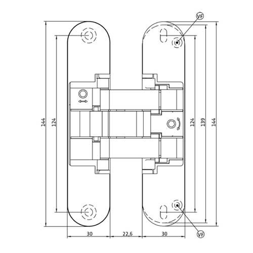 Петля скрытого монтажа Istar, 3D, универс., с вылетом на 14мм, 40кг(2Х),черный,38-40мм, серия 515