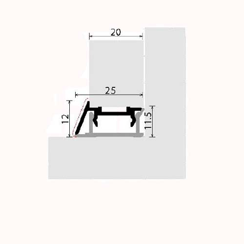 Плинтус под наполнение 18-19 мм L-4300мм, алюминий